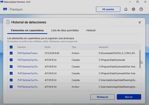 Malwarebytes eliminar virus