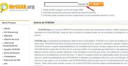 VirSCAN PC ordenador