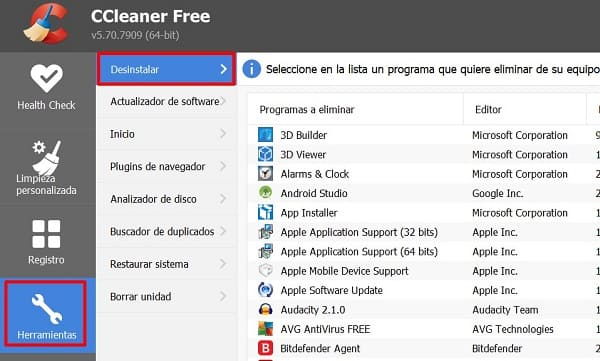 CCleaner análisis completo